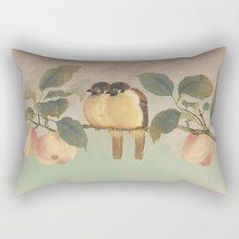 Golden Birds in Fruit Tree Rectangular Pillow
