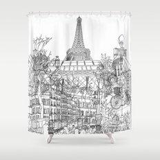Paris! B&W Shower Curtain