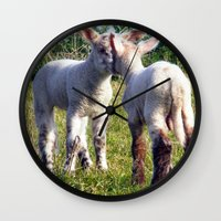 silence of the lambs Wall Clocks featuring Spring Lambs by Valann