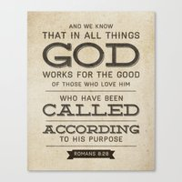 bible verse Canvas Prints featuring Romans 8:28 Bible Verse by Tony D'Amico