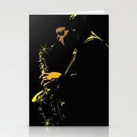 saxophone Stationery Cards featuring Saxophone Player by TilenHrovatic