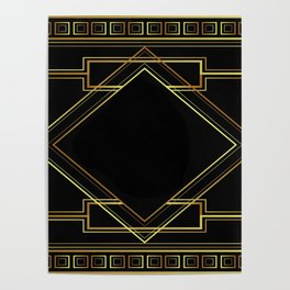 art deco gatsby black and gold lines geometric pattern Poster