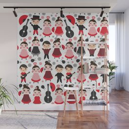 Seamless pattern spanish flamenco dancer. Kawaii cute face with pink cheeks and winking eyes. Wall Mural