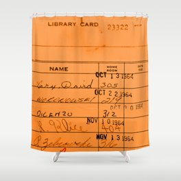 Library Card 23322 Orange Shower Curtain