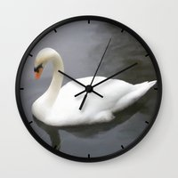 swan Wall Clocks featuring Swan by IvaW
