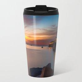 Here she comes again the sun rising at Port San Luis vila Beach Travel Mug