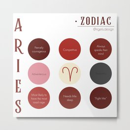 Aries Zodiac Sign Personality  Metal Print