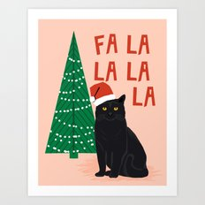 Black Cat cute fa la la christmas xmas tree holiday funny cat art cat lady gift unique pet gifts Art Print