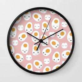 Kawaii baked eggs for breakfast Wall Clock