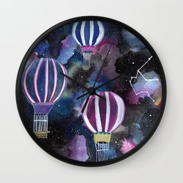 Hot Air Balloon in Galaxy Sky Wall Clock