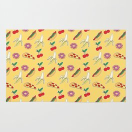 Modern yellow red fruit pizza sweet donuts food pattern Rug