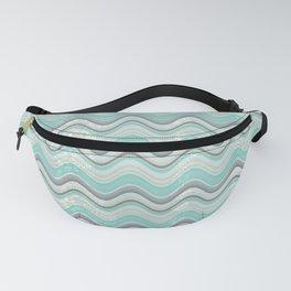 By The Aqua Sea Geometric Waves Fanny Pack