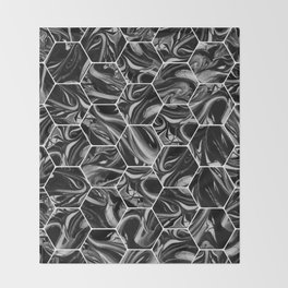 Hex & Swirl - Black and White Marble Pattern Throw Blanket