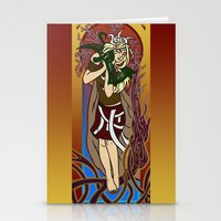 mucha Stationery Cards featuring Dragon Mucha Tribute by Heather Nelson