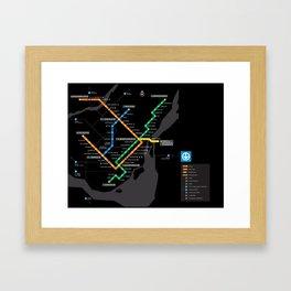 STM Metro Subway Map Carte du Metro Montreal Black HD Framed Art Print