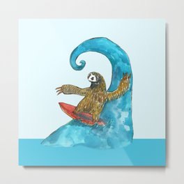 surfing sloth in the spring Metal Print
