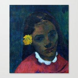 """Paul Gauguin """"Tete De Tahitienne Or La Fleur Qui Ecoute"""" Canvas Print"""