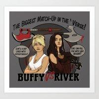 buffy Art Prints featuring Buffy vs River by Karen Hallion Illustrations