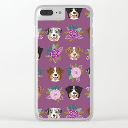 Australian Shepherd dog breed dog faces cute floral dog pattern Clear iPhone Case