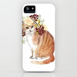 cat with flower crown iPhone Case