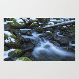 Snow, Moss, Water Over Rocks Rug
