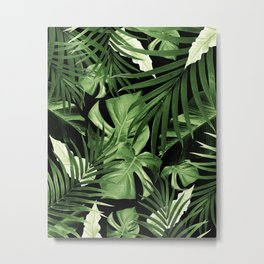 Tropical Jungle Night Leaves Pattern #5 #tropical #decor #art #society6 Metal Print