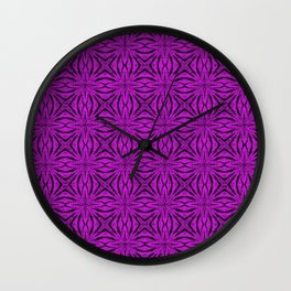 Black and Dazzling Violet Floral Wall Clock