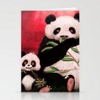 pandas Stationery Cards featuring Pandas by J ō v