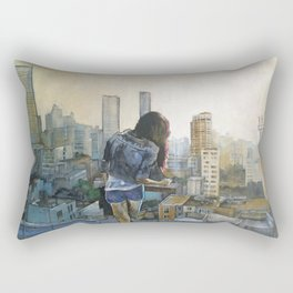 girl vs. city Rectangular Pillow