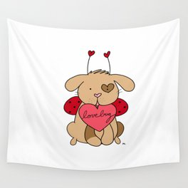 Valentine Puppy Love Bug Wall Tapestry