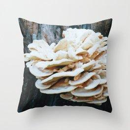 Rose like mushroom on old tree Throw Pillow