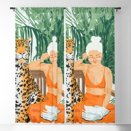 Jungle Vacay #painting #illustration Blackout Curtain