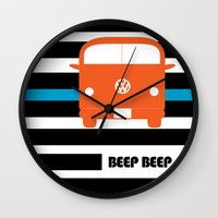 vw bus Wall Clocks featuring VW Bus by see BOLD