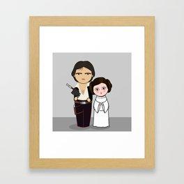 Kokeshis H Solo and Leia Framed Art Print