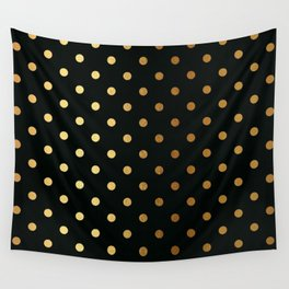 Gold polka dots on black pattern Wall Tapestry
