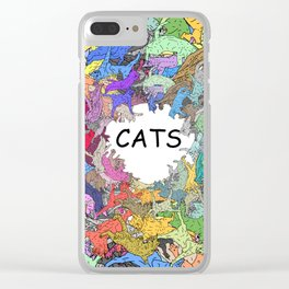 Colorful Rainbow Cats Clear iPhone Case