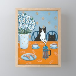 Cats and a French Press Framed Mini Art Print