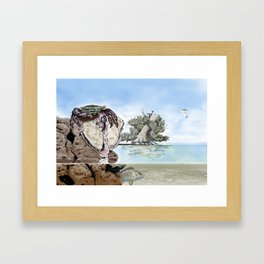 Crab vs Oyster Framed Art Print