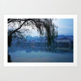 Vietnam Lao Cai Rivers Evening Branches Cities Building river Houses Art Print