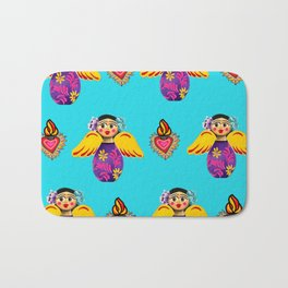 Angels and Hearts Turquoise Bath Mat