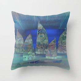 Geometric Sailboat Serenity Throw Pillow