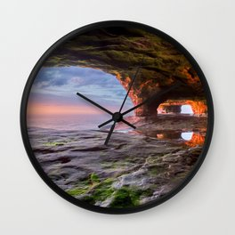 Sea Cave Sunset on Lake Superior Wall Clock