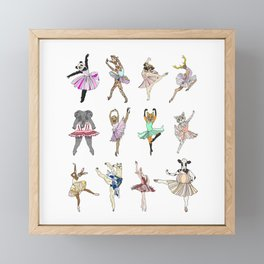 Animal Square Dance Hipster Ballerinas Framed Mini Art Print