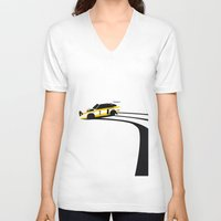 audi V-neck T-shirts featuring Quattro S1 by Cale Funderburk