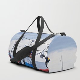 Traditional fishing boat off Tenerife in the Canary Islands Duffle Bag