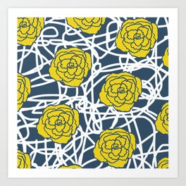 YELLOW ROSE SQUIGGLE Art Print
