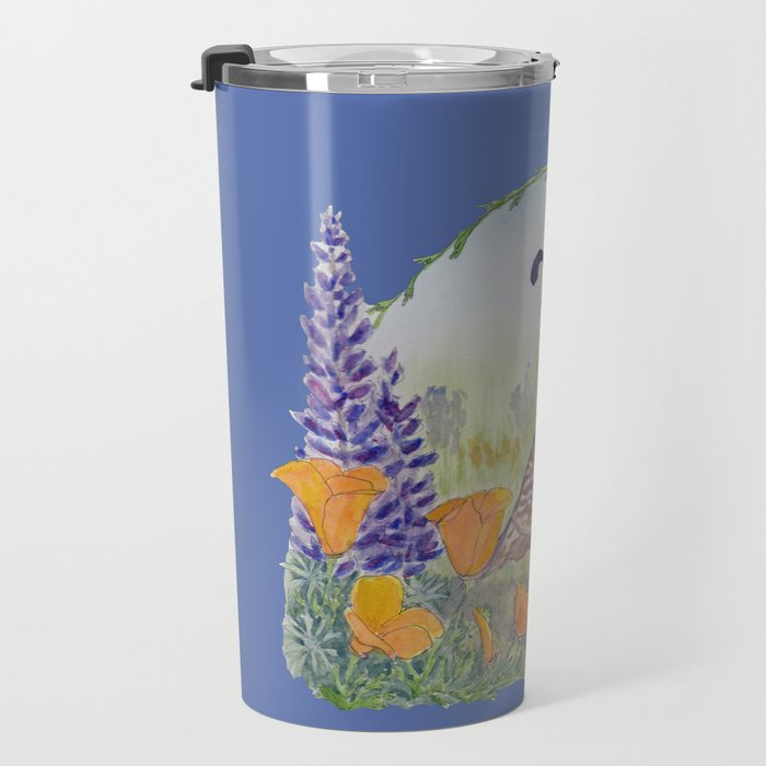 California Quail with Poppies and Lupine on Blue Travel Mug