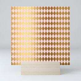 Royal gold on pink backround - Luxury geometrical pattern Mini Art Print