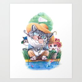 A cat family on the summer holiday Art Print