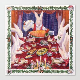 Young Bunny's Family Feast Canvas Print